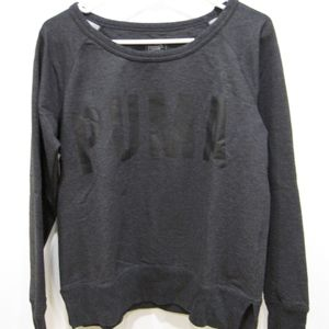 PUMA Dry Cell boat neck sweatshirt top in gray